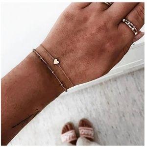 Two Dainty Boho Heart and Bead Gold Bracelets